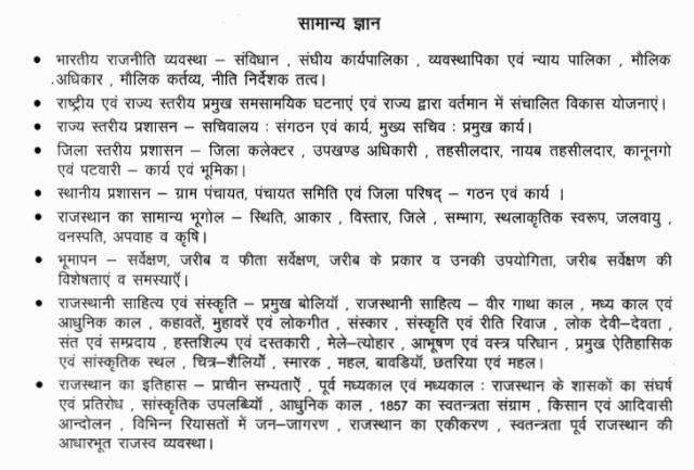 Rajasthan Patwari Exam 2015 General Knowledge Syllabus